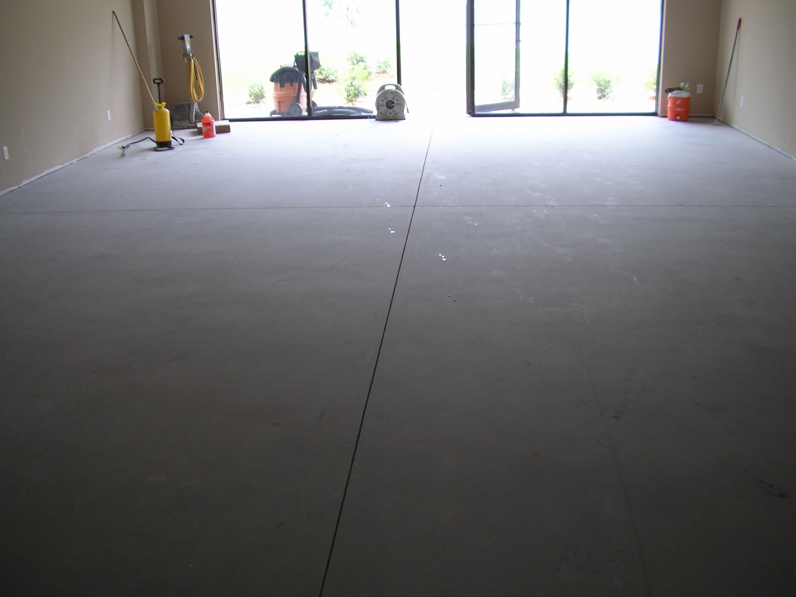 acid stained concrete floors gray viewing gallery